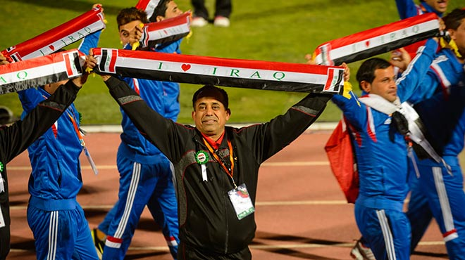 Iraq delegation in the parade of athletes for Middle East North Africa Regional Games