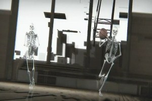 Skeletons playing with a basketball