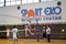 Special Olympics Serbia Unified Volleyball partner demonstrates how to attack. <br /><span>Photo by Jenna Briggs/SOI</span>