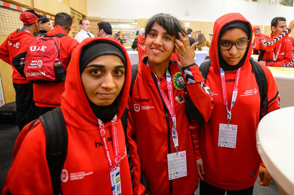Maryam Alzaabi (left) will compete in snowshoeing; Aysha Alnuaimi will compete in figure skating; Reem Albalooshi will compete in snowshoeing.