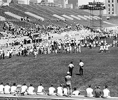 A long-range shot of a crowd at a stadium in Chicago.